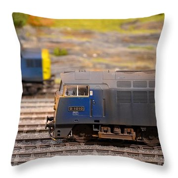 Throw Pillow featuring the photograph Two Yellow Blue British Rail Model Railway Train Engines by Imran Ahmed