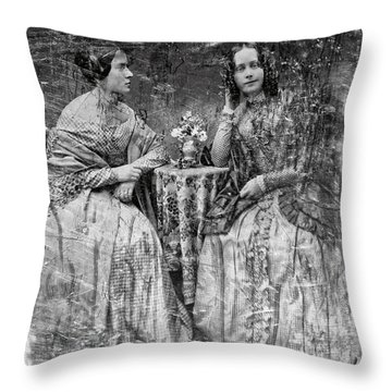 Two Young Antebellum Ladies Almost Lost To Time Throw Pillow by Daniel Hagerman