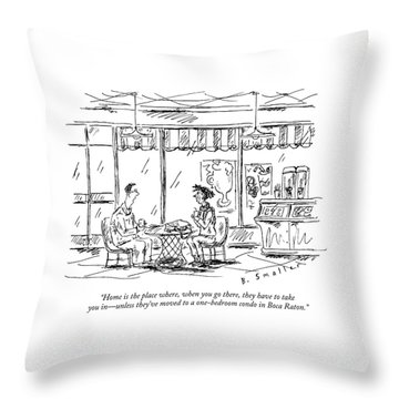 Two Younger People Speak At A Coffee Shop Throw Pillow