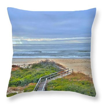 Throw Pillow featuring the photograph Tybee Island Beach And Boardwalk by Donald Williams