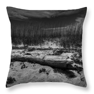 Throw Pillow featuring the photograph Tybee Island Driftwood 001 Bw by Lance Vaughn