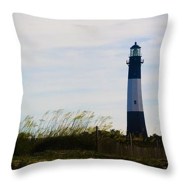 Tybee Island Lighthouse Throw Pillow by Jessica Brawley