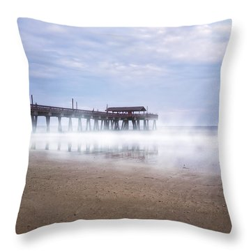 Tybee Island Pier Throw Pillow