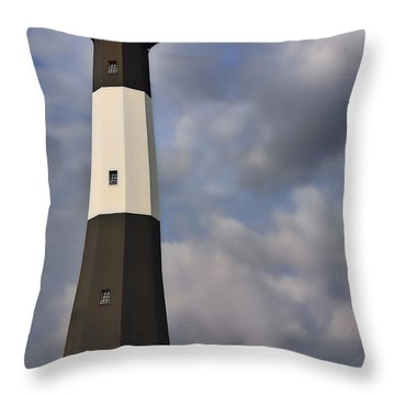 Throw Pillow featuring the painting Tybee Lighthouse by Linda Blair