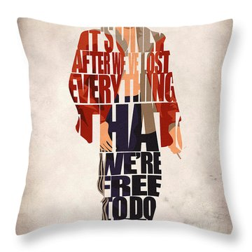 Tyler Durden Throw Pillow by Ayse Deniz