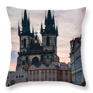 Tyn Cathedral On Old Town Square Throw Pillow