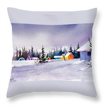 Throw Pillow featuring the painting Tyonek Village Impression by Teresa Ascone