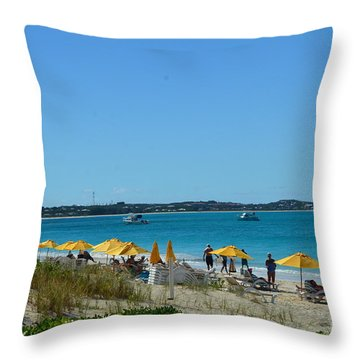 Typical Beach Day Throw Pillow by Judy Wolinsky