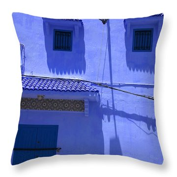 Throw Pillow featuring the photograph Typical Blue Facade In The Medina Of Asilah On Northwest Tip Of Atlantic Coast Of Morocco by Ralph A  Ledergerber-Photography