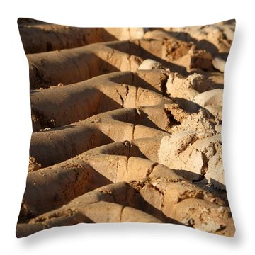 Tyre Art - Bulldozer Tyre Marks Throw Pillow by Ramabhadran Thirupattur