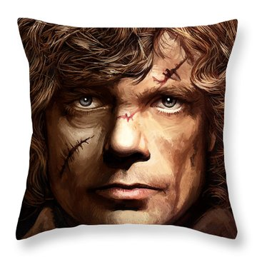 Throw Pillow featuring the painting Tyrion Lannister - Peter Dinklage Game Of Thrones Artwork 2 by Sheraz A