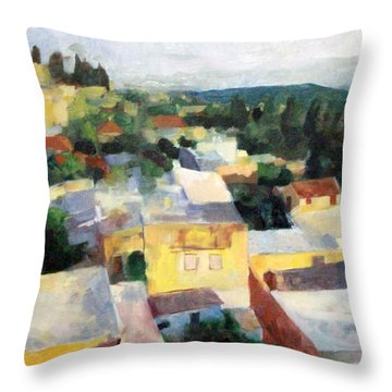 Tzfat Throw Pillow by David Baruch Wolk