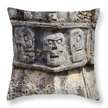 Throw Pillow featuring the photograph Tzompantli Or Platform Of The Skulls At Chichen Itza by Bryan Mullennix