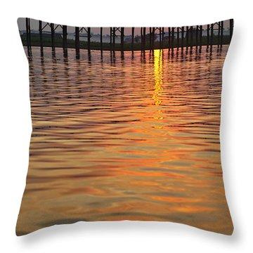 U Bein Bridge In Mandalay Throw Pillow by Juergen Ritterbach