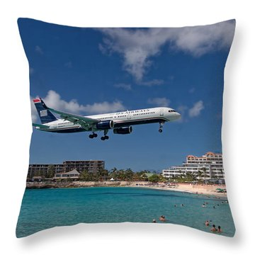 U S Airways Low Approach To St. Maarten Throw Pillow by David Gleeson