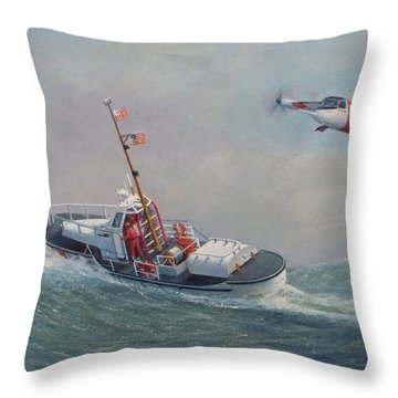 U. S. Coast Guard 44ft Motor Lifeboat And Tilt-motor Aircraft  Throw Pillow by William H RaVell III