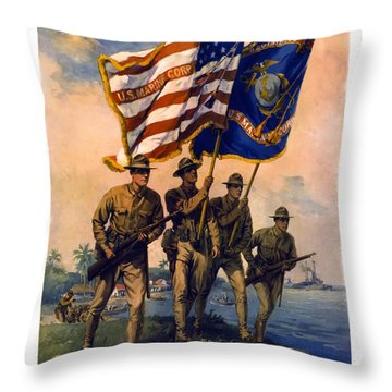 U. S. Marines Spirit Of 1917 Throw Pillow by Daniel Hagerman