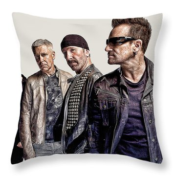 U2 Goup Throw Pillow