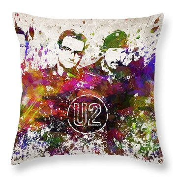 U2 In Color Throw Pillow by Aged Pixel
