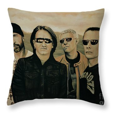 U2 Silver And Gold Throw Pillow