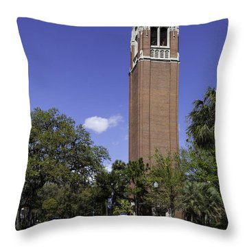 Uf Century Tower And Newell Drive Throw Pillow by Lynn Palmer