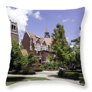 Uf University Auditorium And Century Tower Throw Pillow by Lynn Palmer