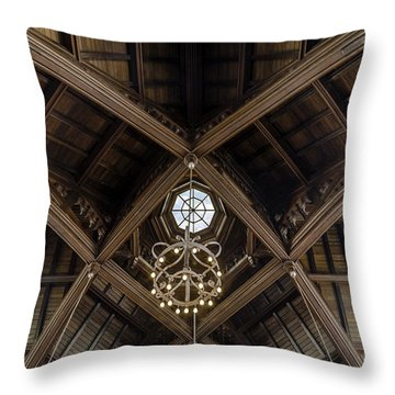Uf University Auditorium Vaulted Wooden Arches Throw Pillow by Lynn Palmer