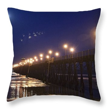 Ufo's Over Oceanside Pier Throw Pillow