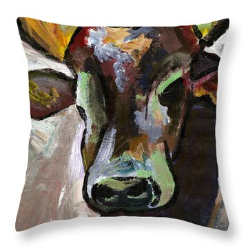 Ugandan Long Horn Cow Throw Pillow