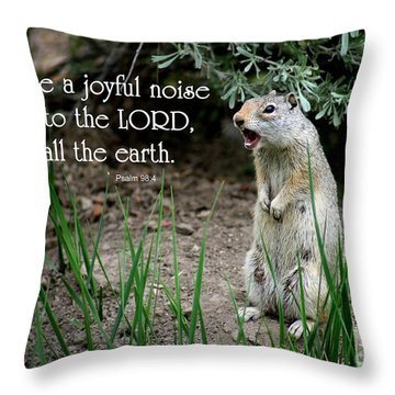 Uinta Ground Squirrel - Psalm 98 Throw Pillow by E B Schmidt