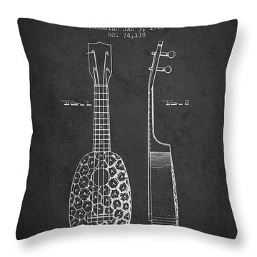 Ukulele Patent Drawing From 1928 - Dark Throw Pillow