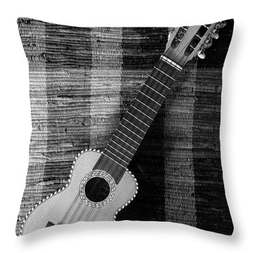 Ukulele Still Life In Black And White Throw Pillow