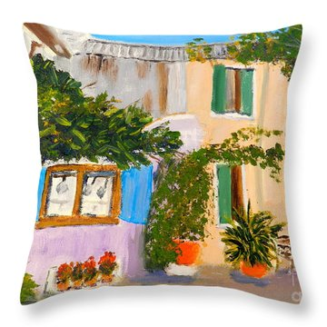 Throw Pillow featuring the painting Umbera Courtyard by Pamela  Meredith