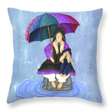 Umbrella Bunny Throw Pillow by Tracy Campbell