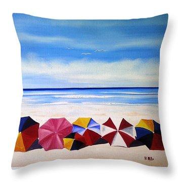 Umbrella Day Throw Pillow