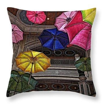 Umbrella Fun Throw Pillow by Joan  Minchak
