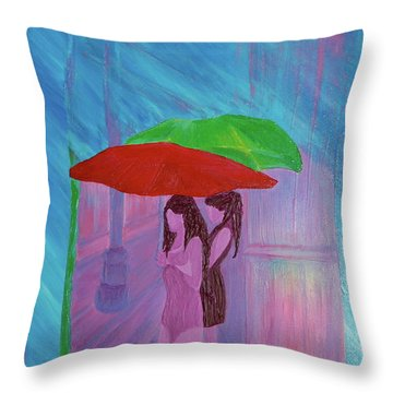 Throw Pillow featuring the painting Umbrella Girls by First Star Art