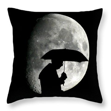 Umbrella Man With Moon Throw Pillow