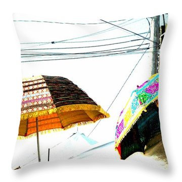 Throw Pillow featuring the photograph Umbrellas And Wires by Marianne Dow