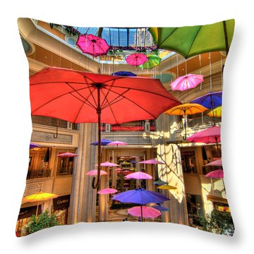 Umbrellas At Palazzo Shops Throw Pillow by Amy Cicconi