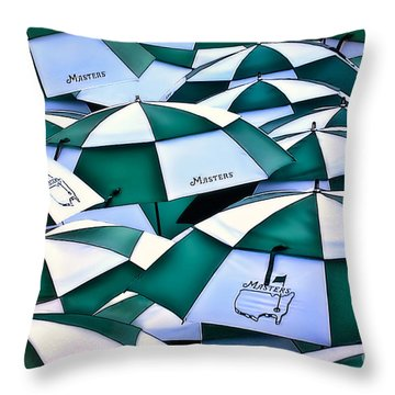 Umbrellas At The Masters Throw Pillow by Walt Foegelle