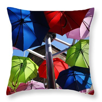 Umbrellas In The Sky Throw Pillow