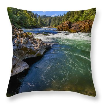 Umpqua River Throw Pillow by David Millenheft