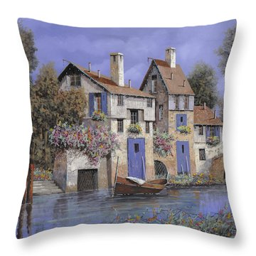 Un Borgo Tutto Blu Throw Pillow by Guido Borelli
