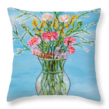 Throw Pillow featuring the painting Un Segno by Loredana Messina
