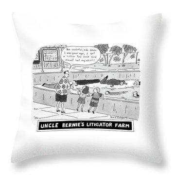 Uncle Bernie's Litigator Farm Be Careful Throw Pillow