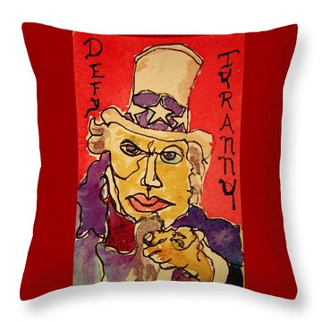 Uncle Sam Defy Tyranny Throw Pillow