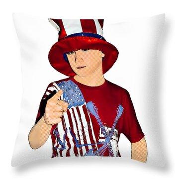 Uncle Sam Throw Pillow by Susan Leggett