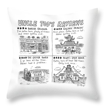 Uncle Tod's Reviews Throw Pillow