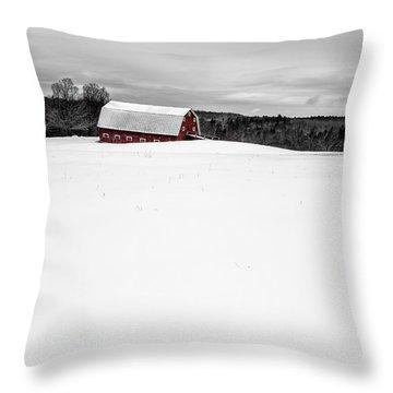 Under A Blanket Of Snow Christmas On The Farm Throw Pillow